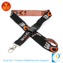 High Quality Newest Polyester Neck Strap Printed Woven Nylon Card Holder Keychain Sublimation Webbing Heat Transfer Printing Tubular Lanyard with Safety Clasp