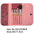5pcs portable cosmetic brush kit with print canvas purse