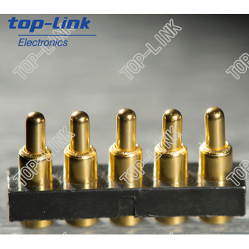 Gold Plated Pogo Pin Connector with 5 Pin, High Durability, High Precision