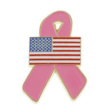 USA Flag Breast Cancer Awareness Ribbon Lapel Pin
