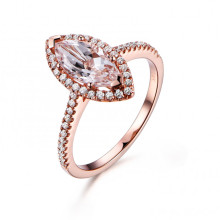 10x5mm Marquise Cut Morganite and Diamond Engagement Ring 14k Rose gold Halo Stacking Band