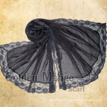 2016 latest fashion cotton lace scarf