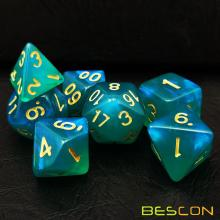 Bescon Moonstone Dice Set Peacock Blue, Bescon Polyhedral RPG Dice Set Moonstone Effect