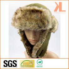 100% Polyester Polaire & Fourreau artificiel Ushanka chapeau d'hiver avec rabat d'oreille