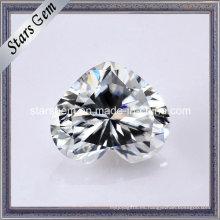 Súper blanco corazón forma Moissanite diamante piedra suelta