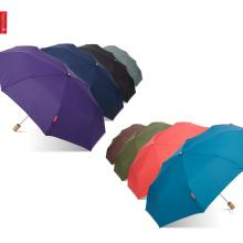 Mantel plegable de la insignia de la impresión de la manija de madera sólida superior de Topumbrella con el bolso, paraguas pequeño portátil