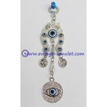 Blue Evil Eye with Horse Shoe hanging decoration ornament