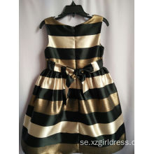 Modig Navy Style Girl Stripe Dress Princess Svart Och Golden Stripe Dress