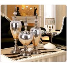 Home decoration Christmas family ornament metal glass special shape glass crafts