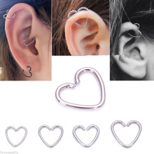 316L Chirurgischer Stahl Silber Herz Ring Helix Knorpel Tragus Daith Hoop Ohrring