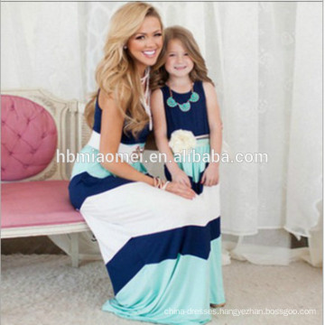 2017 New summer high quality striped fashion family mommy and me dress
