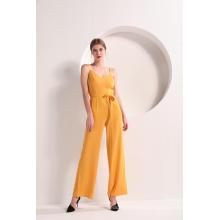Women Yellow Color Wide Leg Cami Jumpsuit