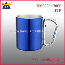 Direct manufacturer double wall stainless steel coffee mug with carabiner handle