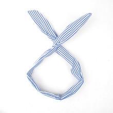 Головной повязкой для волос с голубой полосой из кролика (HEAD-04)