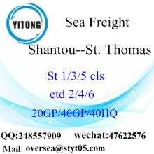Expedição de frete marítimo de porto de Shantou para St. Thomas
