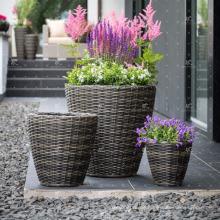 RAPL-028 Neue modische Poly-Rattan-Outdoor-Dekor-Blume Stapelbarer Pflanzer - Töpferei