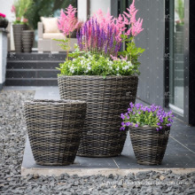 RAPL-028 New Trendy Poly Rattan Outdoor Decor Flower Stackable Planter - Pottery