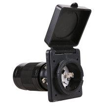 Leisure RV 125V 50 AMP Power Plug Twist Lock Inlet with 3 Stainless Steel Pins, White,ETL-cetificatioon