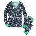 Surtidor de la ropa de moda de China al por mayor de algodón adulto pijamas de Navidad en color sólido