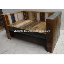 Sofá de madeira reciclado Madeira de sucata de cor única