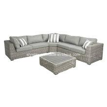 Conjunto de sofá de vime secional jardim mobília ao ar livre do Rattan