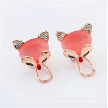 Venta al por mayor 2016 moda rosa zorro ópalo pendientes de fantasía diseño pendiente
