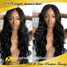 Peruca completa do laço do cabelo brasileiro ondulado do Virgin do corpo das mulheres negras com cabelo do bebê