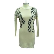 Женщины круглый шею моды свитер платье