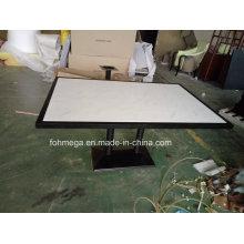 Mesa de jantar branca do restaurante do mármore de 6 lugares Artificail Foh-Bmt1