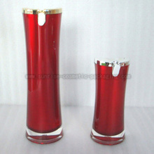 15ml 50ml Red Slim Waist Acrylic Lotion Bottle