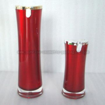 15ml 50ml botella de loción acrílico rojo cintura delgada