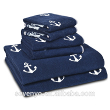 100% cotton Navy anchor bath towel