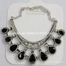 Frau Modeschmuck Schwarz Waterdrop Glas Kristall Anhänger Halskette (JE0210-schwarz)