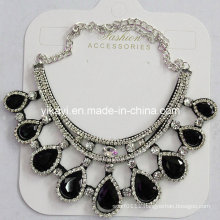Woman Fashion Jewelry Black Waterdrop Glass Crystal Pendant Necklace (JE0210-black)