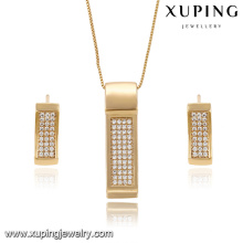 63896 Xuping fashion jewelry gold plated rectangle shaped earring and pendant sets