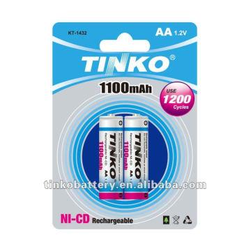 ni -cd rechargable battery 2pcs/blister OEM welcomed
