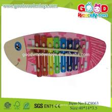 2015 Los juguetes de la música de los niños del xilófono de madera del diseño de los pescados de Hotsale