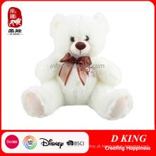 Urso de peluche branco enchido macio peluches personalizado do luxuoso
