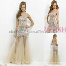 NW-445 Sexy Illusion Body avec bijoux et pierres Robe de soirée Prom Gown
