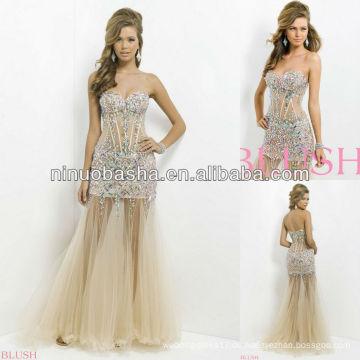 NW-445 Sexy Illusion Körper mit Juwelen und Steine Abendkleid Prom Gown