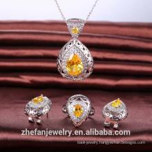 3-piece wholesale jewelry set fashion champagne pear cz stone