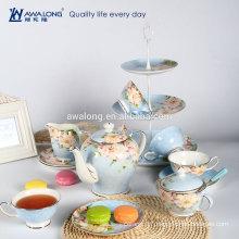light blue gruonding peony flowers pattern coffee set with sugar bowl