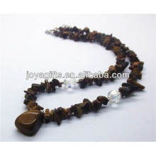 tiger eye trip stone Necklace with tumbled tiger eye pendant