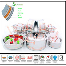 Stainless Steel Waterless Cookware Set 5 Ply Composited Body Sc636