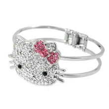Cute Hello Kitty 925 Sterling Silver Bangle Jewelry for Cutey