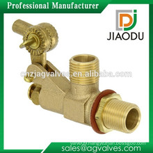 "Brass Tank Wall Mounted Bulkhead Float Valve with Locknut and Gasket 1/2"" NPT Male Straight Inlet x 1/2"" NPT Male Outlet 22 gpm"