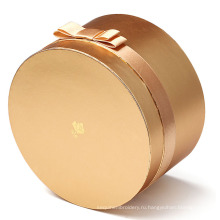Металлический золотой косметический круглый бумажный ящик