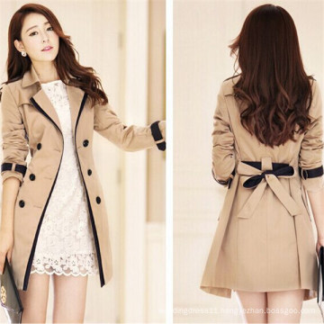 Women′s Double Breasted Winter Outerwear Jacket Long Trench Coat (50071)