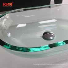 Kkr 22mm Glass Basins Sink Customize Bathroom Wash Basin Types Clear Glass basin