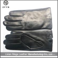ZF5035 color negro hombres cabello ovejas cuero pantalla táctil guantes
